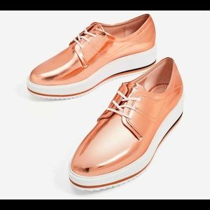 Zara pink metallic Oxford shoe